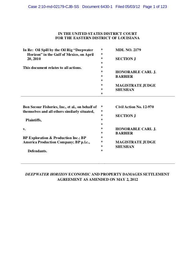 Bp Settlement Agreementamended5 2 2012