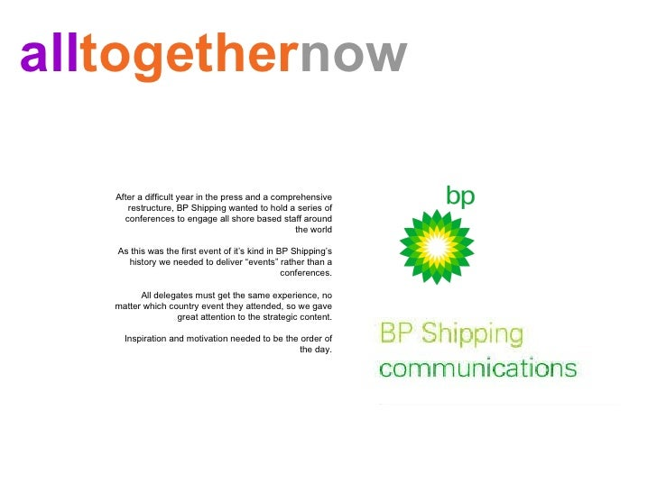 After a difficult year in the press and a comprehensive restructure, BP Shipping wanted to hold a series of conferences to...