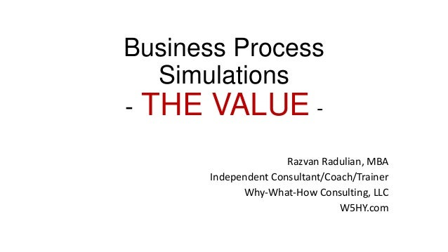 Business Process Simulations - THE VALUE - Razvan Radulian, MBA Independent Consultant/Coach/Trainer Why-What-How Consulti...