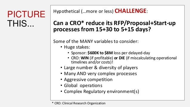 PICTURE THIS... Hypothetical (…more or less) CHALLENGE: Can a CRO* reduce its RFP/Proposal+Start-up processes from 15+30 t...