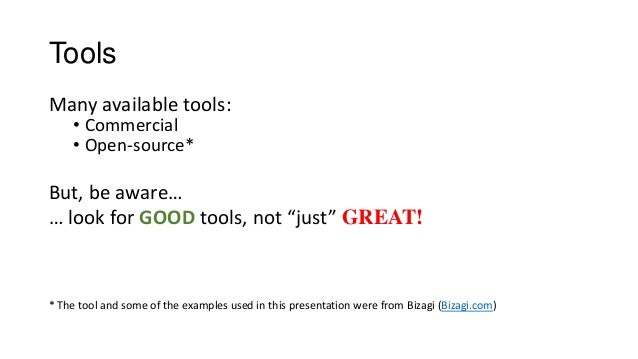 """Tools Many available tools: • Commercial • Open-source* But, be aware… … look for GOOD tools, not """"just"""" GREAT! * The tool..."""