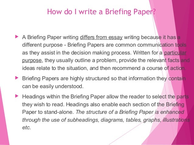 How to write a briefing paper