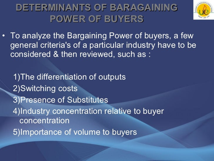bargaining power of buyers The us auto industry in 2013: five forces to consider  the bargaining power of buyers, the bargaining power of suppliers,  bargaining power of automotive.