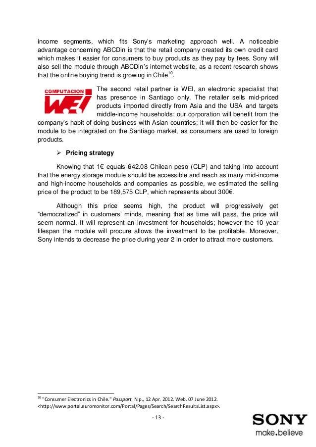Business Plan - Sony in chile Jean Lemercier & Cécilia Cosnard des C…