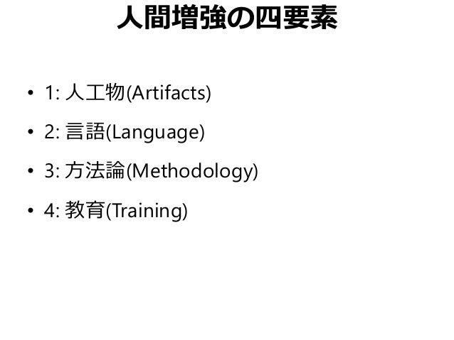 人間増強の四要素 • 1: 人工物(Artifacts) • 2: 言語(Language) • 3: 方法論(Methodology) • 4: 教育(Training)