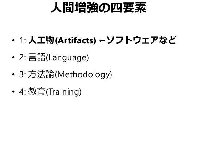 人間増強の四要素 • 1: 人工物(Artifacts) ←ソフトウェアなど • 2: 言語(Language) • 3: 方法論(Methodology) • 4: 教育(Training)