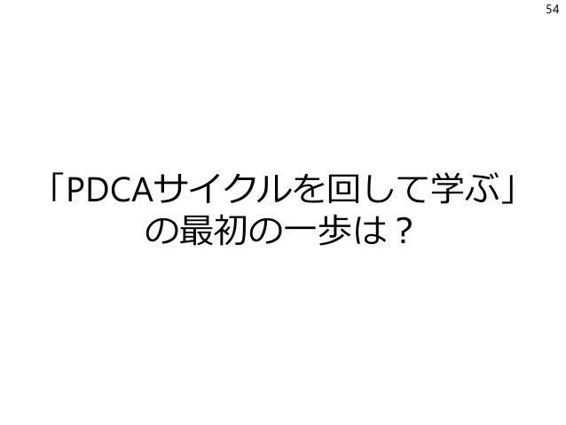 「PDCAサイクルを回して学ぶ」 の最初の一歩は? 54