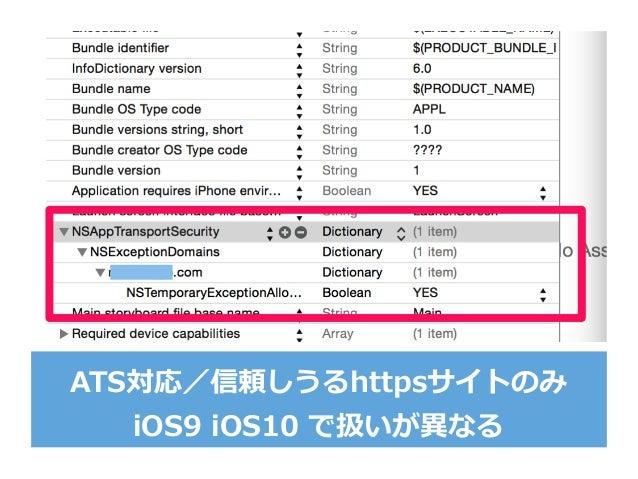 ATS対応/信頼しうるhttpsサイトのみ iOS9 iOS10 で扱いが異異なる