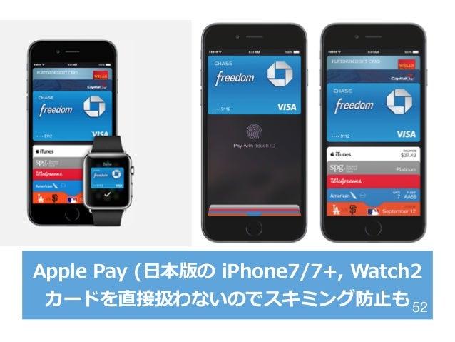 Apple Pay (⽇日本版の iPhone7/7+, Watch2 カードを直接扱わないのでスキミング防⽌止も52