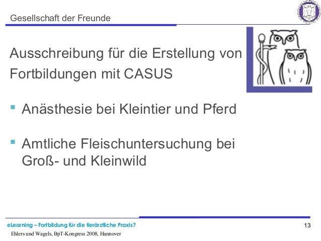 eLearning – Fortbildung für die tierärztliche Praxis? 13 Ehlers und Wagels, BpT-Kongress 2008, Hannover Gesellschaft der F...