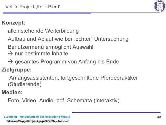 """eLearning – Fortbildung für die tierärztliche Praxis? 30 Ehlers und Wagels, BpT-Kongress 2008, Hannover Vetlife Projekt """"K..."""