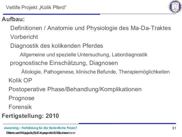"""eLearning – Fortbildung für die tierärztliche Praxis? 31 Ehlers und Wagels, BpT-Kongress 2008, Hannover Vetlife Projekt """"K..."""