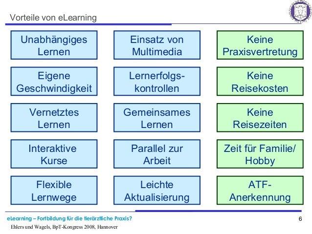 eLearning – Fortbildung für die tierärztliche Praxis? 6 Ehlers und Wagels, BpT-Kongress 2008, Hannover Vorteile von eLearn...