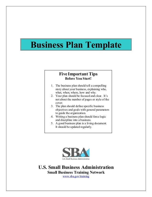 Business plan template business plan template us small business administration small business training network sba accmission Images