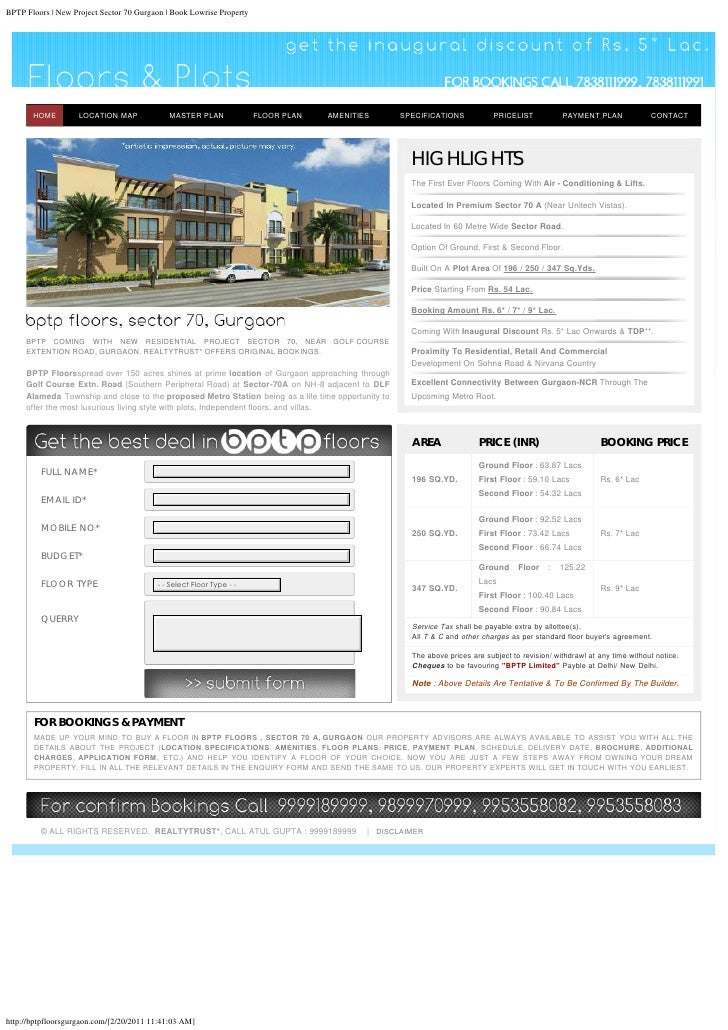 BPTP Floors   New Project Sector 70 Gurgaon   Book Lowrise Property       HOME         LOCATION MAP             MASTER PLA...