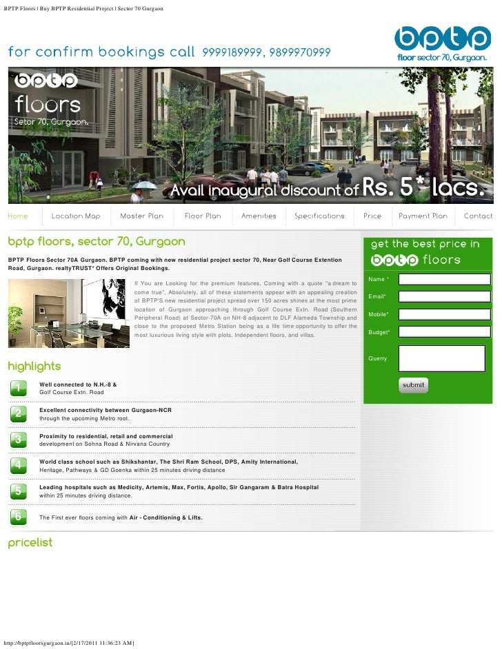 BPTP Floors | Buy BPTP Residential Project | Sector 70 Gurgaon Home             Location Map               Master Plan    ...