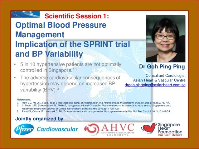 Scientific Session 1: Optimal Blood Pressure Management Implication of the SPRINT trial and BP Variability Consultant Card...