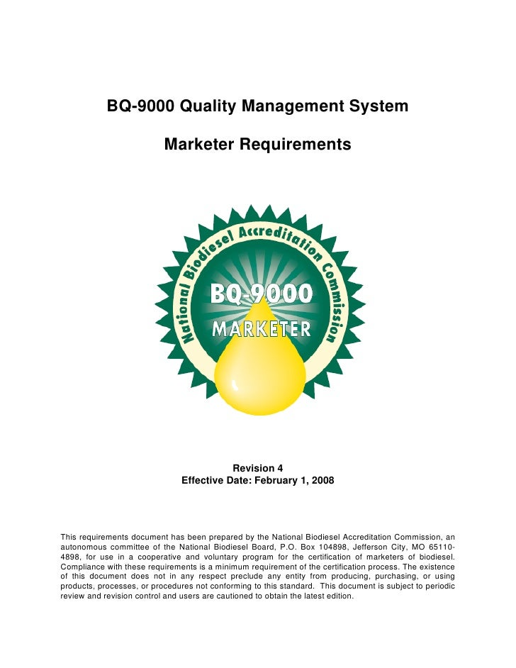 BQ-9000 Quality Management System                             Marketer Requirements                                       ...
