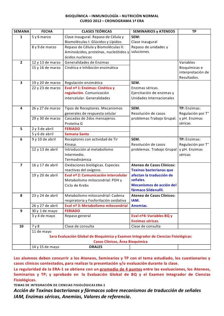 BIOQUÍMICA – INMUNOLOGÍA – NUTRICIÓN NORMAL                                   CURSO 2012 – CRONOGRAMA 1ª ERASEMANA       F...