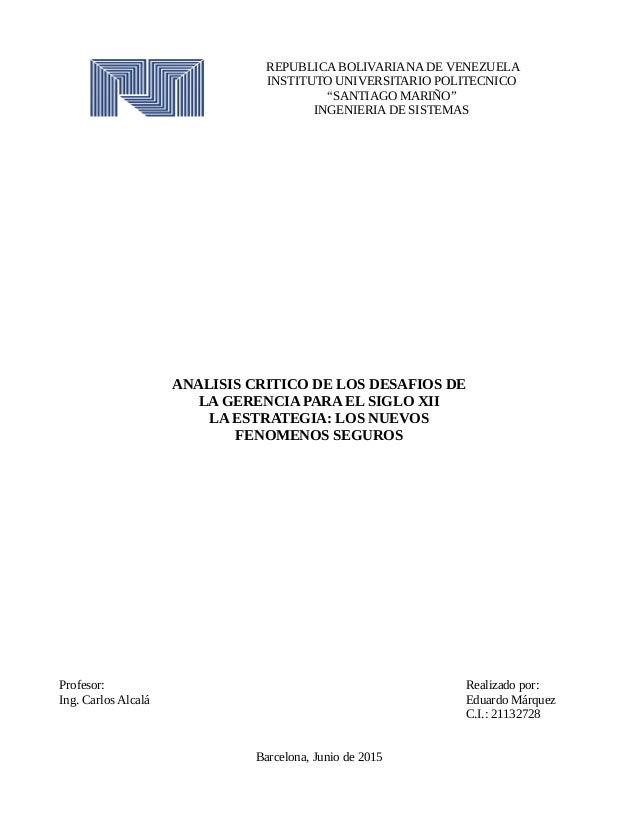 "REPUBLICA BOLIVARIANA DE VENEZUELA INSTITUTO UNIVERSITARIO POLITECNICO ""SANTIAGO MARIÑO"" INGENIERIA DE SISTEMAS ANALISIS C..."