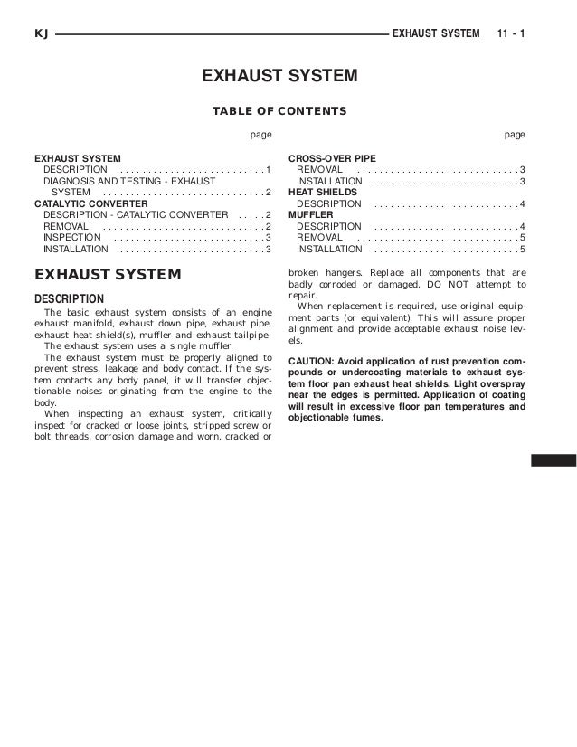 Jeep liberty 2002 2005 exhaust system exhaust system table of contents page page exhaust system description sciox Choice Image