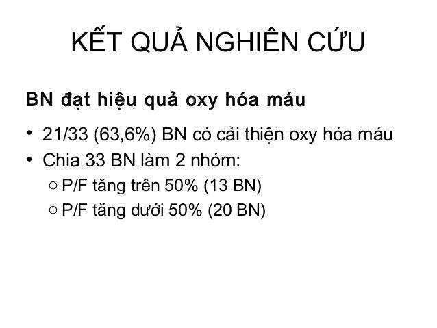 KẾT QUẢ NGHIÊN CỨU BN đạt hiệu quả oxy hóa máu • 21/33 (63,6%) BN có cải thiện oxy hóa máu • Chia 33 BN làm 2 nhóm: o P/F ...