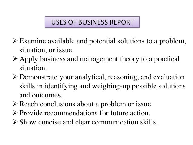 Uses of report