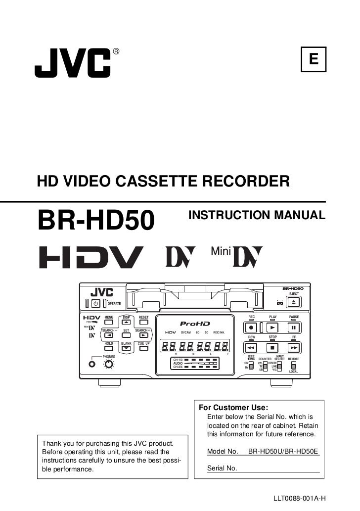 EHD VIDEO CASSETTE RECORDERBR-HD50                                            INSTRUCTION MANUAL                          ...