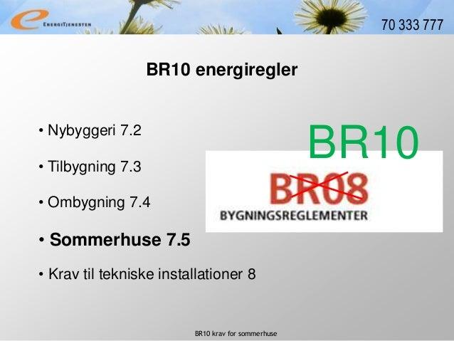 BR10 krav for sommerhuse 70 333 777 • Nybyggeri 7.2 BR10 energiregler • Tilbygning 7.3 • Ombygning 7.4 • Krav til tekniske...