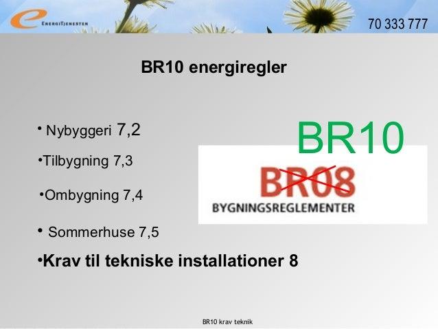 BR10 krav teknik 70 333 777 • Nybyggeri 7,2 BR10 energiregler •Tilbygning 7,3 •Ombygning 7,4 •Krav til tekniske installati...