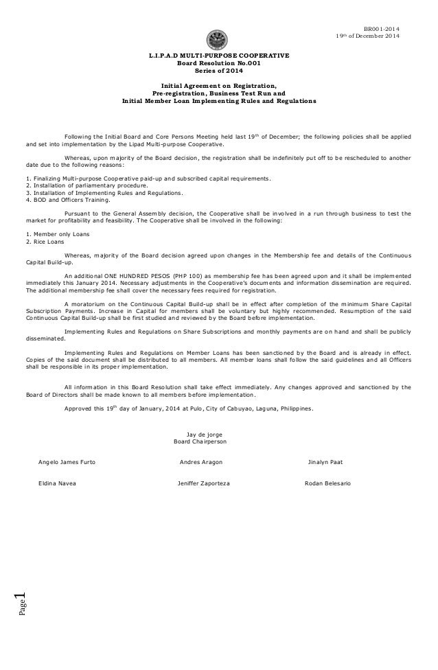 Board resolution 2014 001 for Board resolutions template