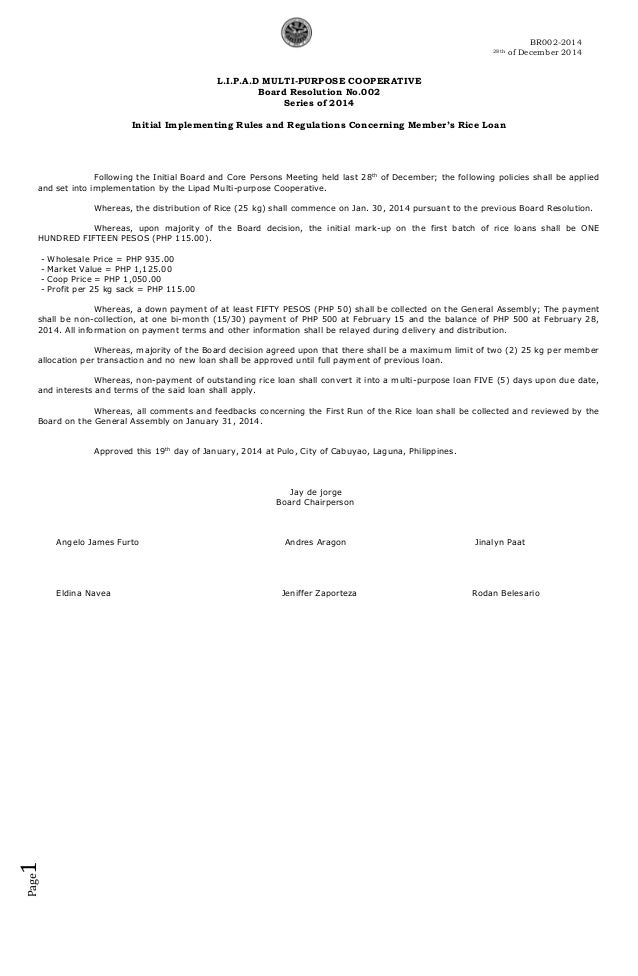 Board resolution 2014 002 for Letter of resolution template