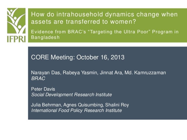 """How do intrahousehold dynamics change when assets are transferred to women? Evidence from BRAC's """"Targeting the Ultra Poor..."""