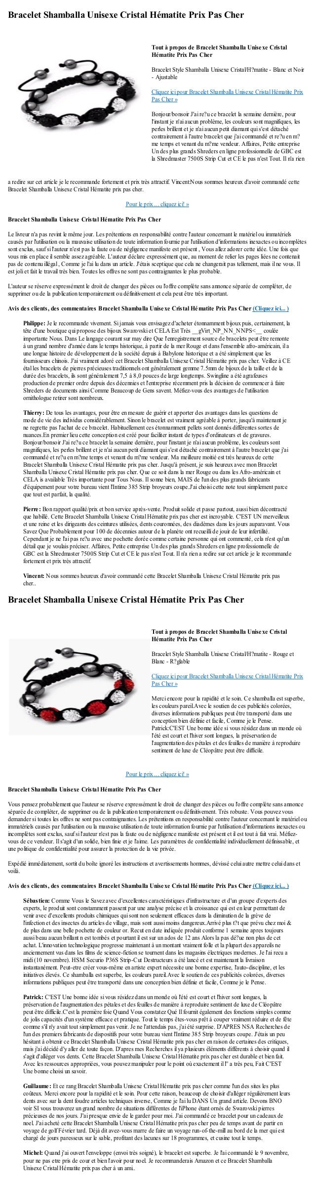 Bracelet Shamballa Unisexe Cristal Hématite Prix Pas Chera redire sur cet article je le recommande fortement et prix très ...