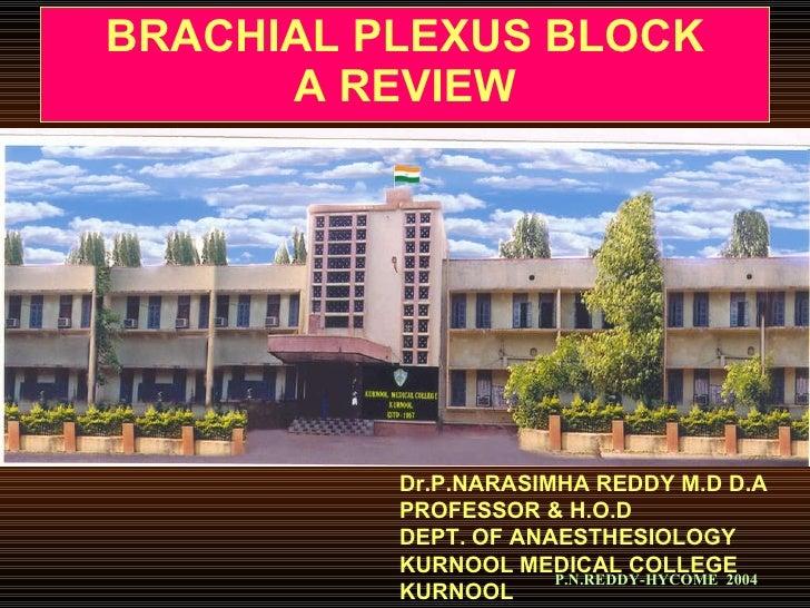 BRACHIAL PLEXUS BLOCK A REVIEW Dr.P.NARASIMHA REDDY M.D D.A PROFESSOR & H.O.D DEPT. OF ANAESTHESIOLOGY KURNOOL MEDICAL COL...