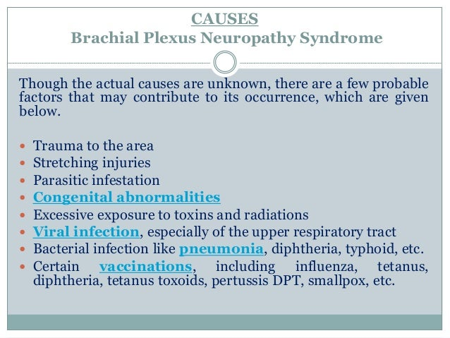 the possible causes of brachial neuritis 38 patients with brachial neuritis experience depressed mood, pain, fatigue,  insomnia, and anxious mood and use aspirin, celecoxib,  common symptoms.