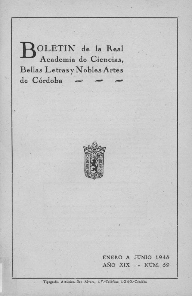 BOLETÍN de la RealAcademia de Ciencias,Bellas Letras y Nobles Artesde Córdoba arome emolir ^--ENERO A JUNIO 1948AÑO XIX - ...