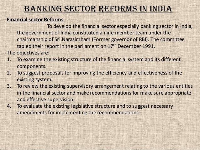 Highlights of Narasimham Committee Recommendations on Banking Reforms in India