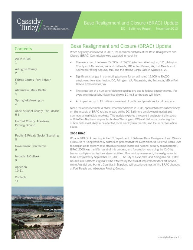 cassidyturley.com   1 When originally announced in 2005, the recommendations of the Base Realignment and Closure (BRAC) Co...