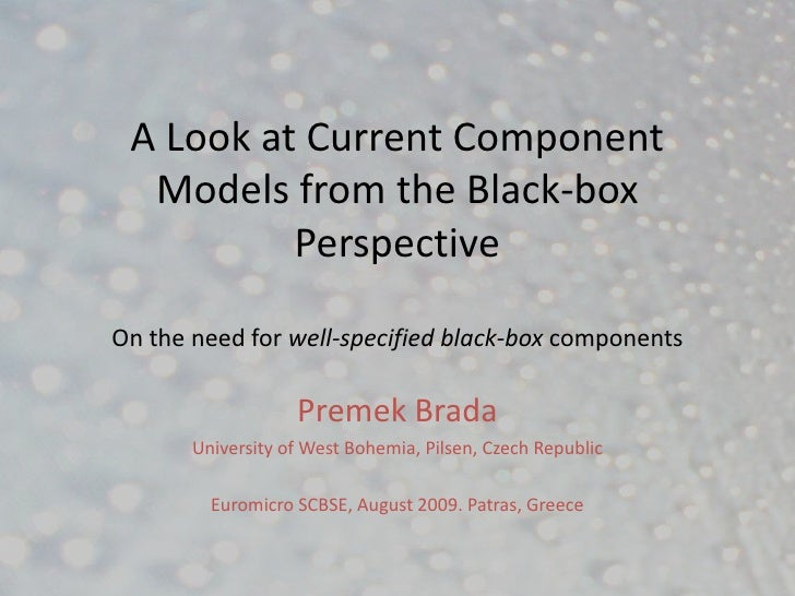 A Look at Current Component   Models from the Black-box           Perspective  On the need for well-specified black-box co...