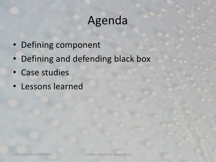 A Look at Current Component Models from the Black-box Perspective Slide 2
