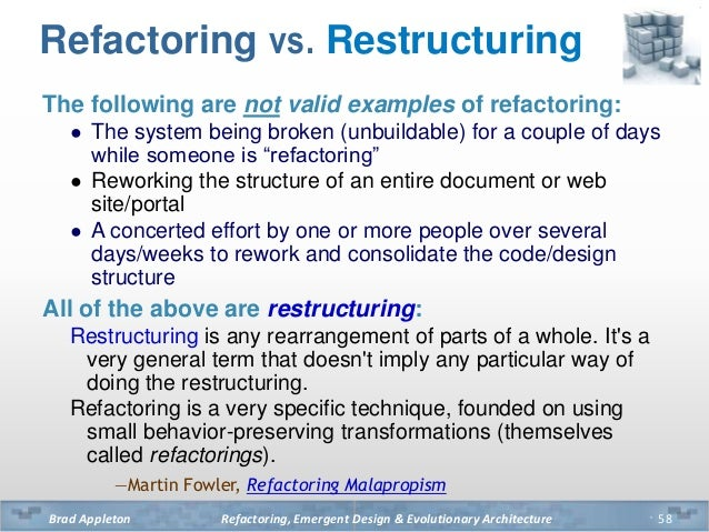 Image result for Refactoring compared to Restructuring