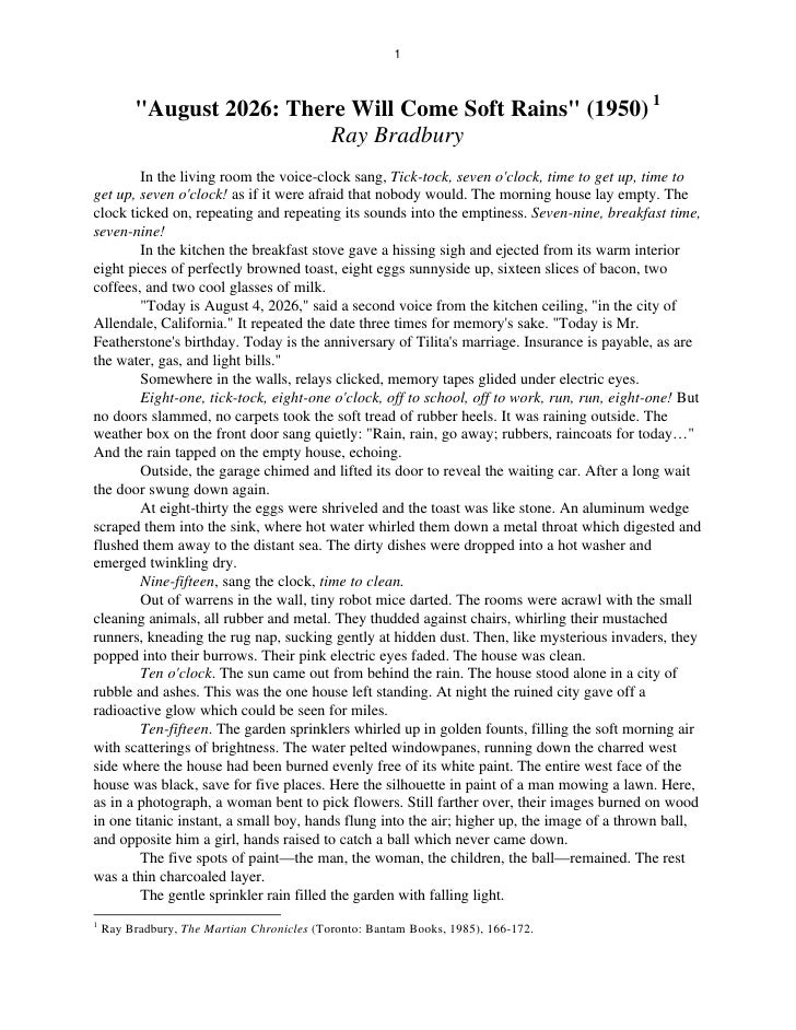 An analysis of there will come soft rains by ray bradbury