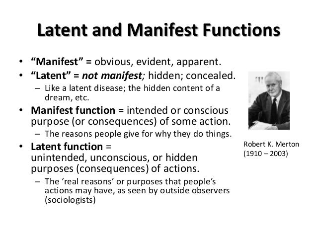 manifest and latent functions merton The sociologist robert merton proposed that social institutions such as education in schools have functions that are both manifest and latent merton defined manifest.