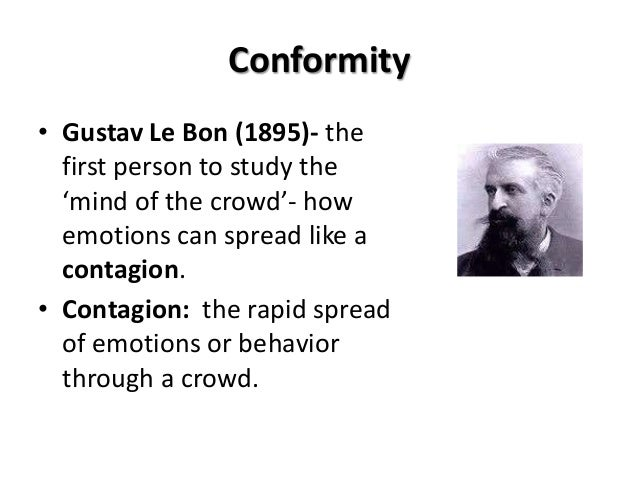 conforming to the crowd Conformity in the 1950s we conform to rules and regulations individuality and stepping out from the crowd can also have a positive or negative effect.