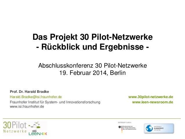 Das Projekt 30 Pilot-Netzwerke - Rückblick und Ergebnisse Abschlusskonferenz 30 Pilot-Netzwerke 19. Februar 2014, Berlin P...