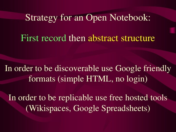Strategy for an Open Notebook:<br />First record then abstract structure<br />In order to be discoverable use Google frien...