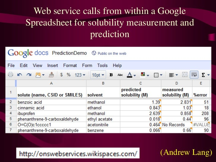 Web service calls from within a Google Spreadsheet for solubility measurement and prediction<br />(Andrew Lang)<br />