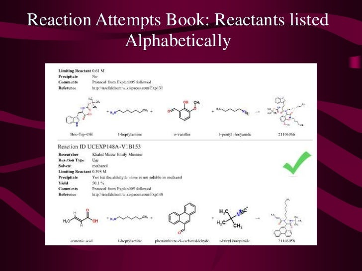 Reaction Attempts Book: Reactants listed Alphabetically<br />