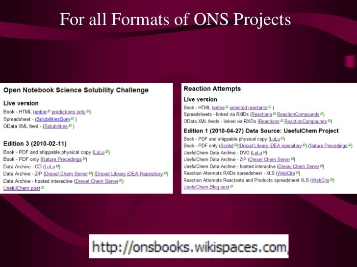 For all Formats of ONS Projects<br />